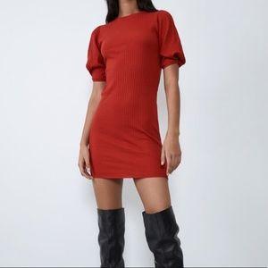 Red Voluminous textures weave dress